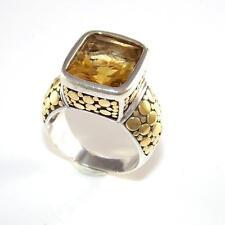 John Hardy Sterling Silver 18K Gold Batu Dot Citrine Band Sz 7 Ring LQ66-G