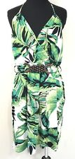 MILLY OF NEW YORK GREEN AND WHITE PAL TREE LEAF WOODEN BELT DRESS SIZE MEDIUM