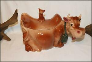🛍 ANTIQUE 1950'S  🕳 BRUSH McCoy 🕳 COW COOKIE JAR with CAT 🕳 MARKED W 10