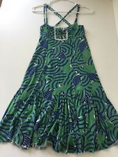 Free People Blue Green Knit Criss Cross Dress Size XS (MB31)