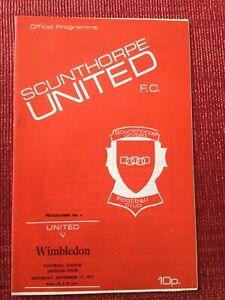 Scunthorpe Utd v Wimbledon Programme, 17/9/1977, Wimbledon's 1st League Season