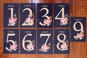 "Wedding Birthday Party Reception Table Number Cards 1-9 Double Sided 4.6""x7"""