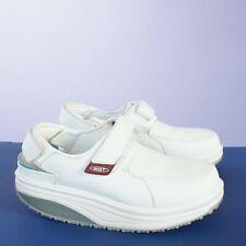 MBT Womens Sapatu Toning Rocker Slingback Walking Shoes Size 8 White Leather