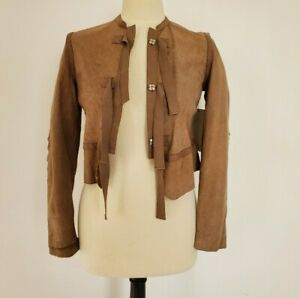 Womens Small Chloe Leather Tie Jacket Brown Made In France