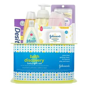 Johnson's Bath Discovery Baby Gift Set 7 Items in Basket  NEW Fast Free Shipping