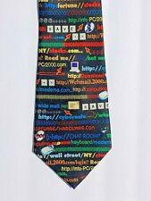 """Mint Vintage Computer Themed Y2K Tech .Com Internet Language Mens Silk Tie 59"""" L"""