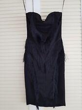Missguided Tassel Front Sweatheart Dress Black Size M