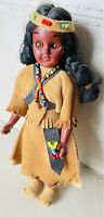 "Vtg 8"" Native American Indian Woman Papoose Baby Plastic Doll Deerskin Leather"
