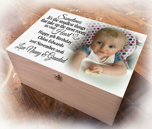 Large wooden memory keepsake box, childs 5th birthday or any age present