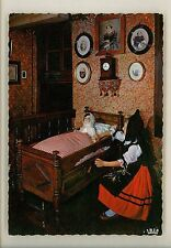 Dolls postcard French France Alsace Alsatian Girl Child Costume Heritage Clock