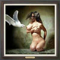"Hand-painted Original Oil Painting art Portrait nude Girl on canvas 30""x30"""