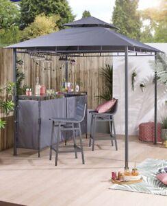 Outdoor Grey Gazebo Bar Set With X2 Stools Chairs Shelving Storage