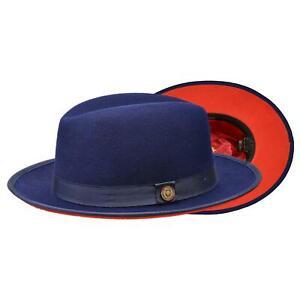 Bruno Capelo Men's Navy / Red Bottom Australian Wool Fedora Dress Hat
