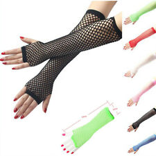 Fishnet Fingerless Gloves Mesh Net Long Sexy Lace Gloves 80s--Fancy Party Dress