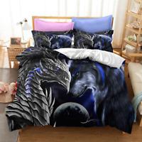 3D Dragon Wolf Moon Bedding Set Doona Quilt Cover Duvet Cover Pillow Case Blue
