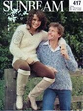 ~ Sunbeam Knitting Pattern For Adult's Lovely V-Neck Mohair Sweater ~