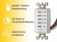 Bathroom Fan Auto Shut Off Timer 10-20-30-60 Minute Preset Countdown Wall Switch