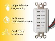 Bathroom Fan Auto Shut Off Timer 10-20-30-60 Minute Preset Countdown Wall Switch