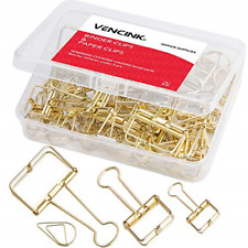 18 Pcs Gold Wire Binder Clips And 20 Pcs Cute Paper Clips Assorted Sizesgold