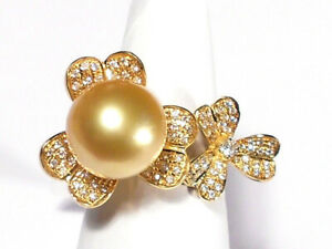 golden South Sea pearl ring, diamonds, solid 18k white gold.