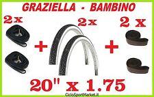 2x Neumáticos + 2 x Cámaras de aire bici GRAZIELLA 20 x 1.75 + SOLAPA CUBIERTA