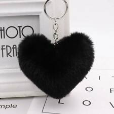 Pom Heart Rabbit Fur Ball Car Key Chain Ring Keyring Women Bag Accessories Decor
