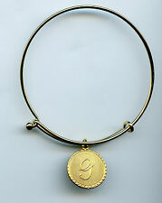 Gold Plated Vintage Script G Initial Charm Wire Bangle Bracelet With Clasp