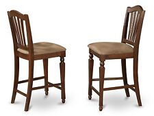 SET OF 6 KITCHEN COUNTER HEIGHT CHAIRS WITH MICROFIBER UPHOLSTERED IN MAHOGANY