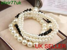 STUNNING FAUX PEARL 4 BANDS BEADED BRACELET BRIDAL WEDDING PROM PARTY FREE GIFT