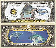 Two Sea Turtle Endangered Ocean Animal Novelty Bills # 201