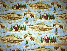 Santa's Journey Winter Scene Reindeer Christmas Fabric by the 1/2 Yard  #23835