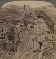 Palestine. Lonely Convent of Mar Saba, Wilderness of Judea. Underwood Stereoview