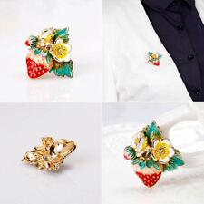 Strawberry Enamel Brooch Fashion Jewelry Women Alloy Lapel Scarf Pin Red