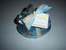 NEW OLDER CUTE BLUE Transparent GLASS Nesting Easter Bunny trinket  candy dish