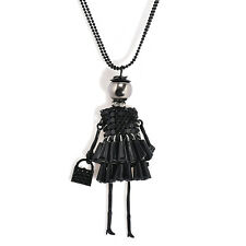 Women Necklace Crystal Rhinestone Doll Beads Chain Pendant Alloy Sweater Jewelry