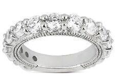 4 carat Anniversary Round Graduated Diamond Ring Platinum Band F-G Vs/Si1