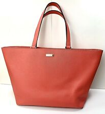 Kate Spade New York Pink Saffiano Leather Tote Crosshatching Leather Large Purse