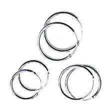 Solid Sterling Silver Hoop Sleeper Earrings 14mm 16mm 18mm Set
