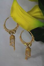 Indian Bollywood Traditional White Pearl Hoops Earring Jewellery Gold Plated 273