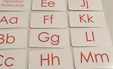 Red Text Alphabet Flash Cards. Laminated educational child learning activity.