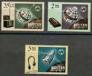 Bhutan 1966 MNH Sc 53-55 Telecommunication union ITU.Satellite.Space **