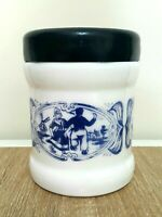 White Blue Delft Milk Glass Canister Jar Humidor Dutch Windmill Holland Lidded