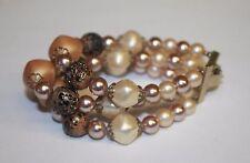 Vintage Multi Strand Beaded Bracelet Cream Orange Amber Leopard White Pink Pearl