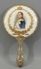 Antique French Victorian Napoleon Gilt Porcelain & German Silver Hand Mirror Nr