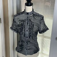 Alberto Makali Blouse Top Crinkle Ruffle Zebra Print Button Down Stretch Shirt M