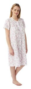 LADIES COTTON MIX BUTTON FRONT OPENING  DRESSING GOWN  NIGHTIES SHORT SLEEVES