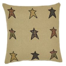 """Stratton Country Red & Tan Patchwork Pillow with Plaid Stars 16"""" Square"""