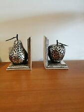 Quirky modern antiqued Apple And Pear Decorative Metal Bookends