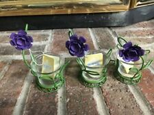 (5) Votive Candle Holders, Boyds Collection - (2) Butterfly & (3) Rose
