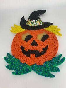 Vintage Halloween Melted Plastic Popcorn Pumpkin Jack o Lantern Decoration